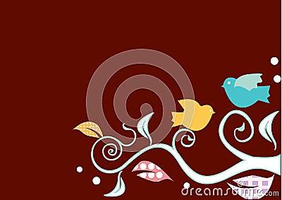 Birds on swirly trees