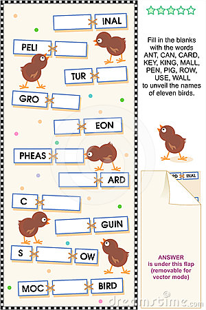 Birds themed word puzzle