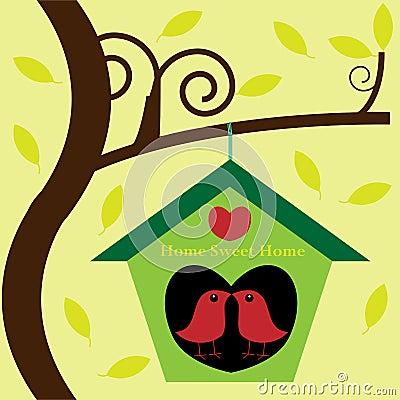 Birds in tree house birdhouse