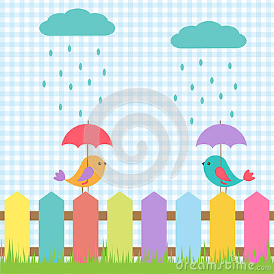 Birds under umbrellas