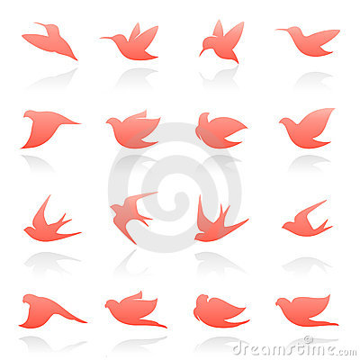 Free Birds. Vector Logo Template Set. Stock Photos - 13014643