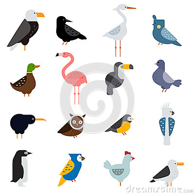 Free Birds Vector Set Illustration. Egle, Parrot, Pigeon And Toucan. Penguins, Flamingos, Crows, Peacocks. Black Grouse Royalty Free Stock Photography - 65722217