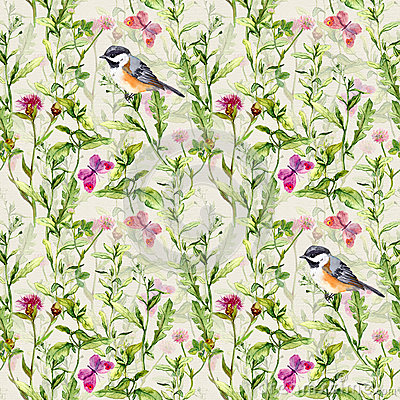 Free Birds, Wild Herbs, Grass, Flowers, Spring Butterflies. Repeated Pattern. Watercolor Royalty Free Stock Photos - 75630618