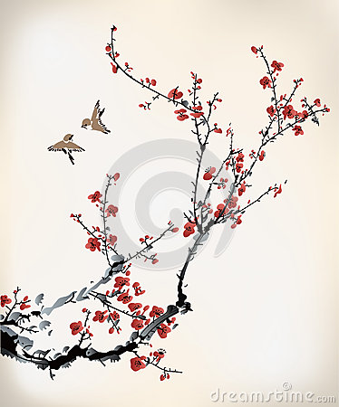 Birds and winter sweet