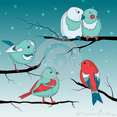 Birds on wintry landscape