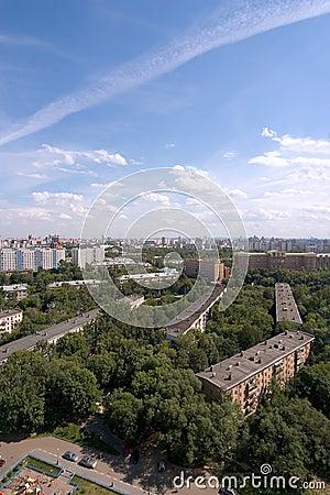 Birdseye modern city view. Summer