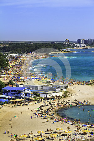 Birdseye panoramic view of a crowded beach Editorial Stock Image