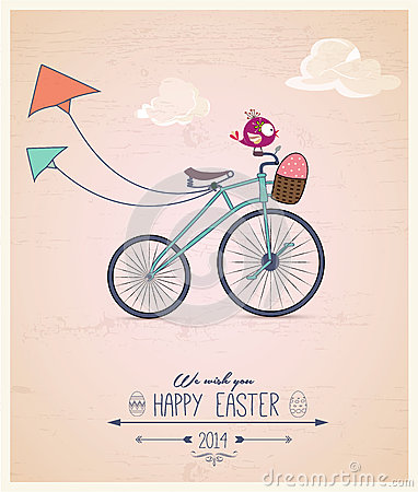 Free Birdy Riding Bike Easter Greeting Card Stock Photo - 39536770
