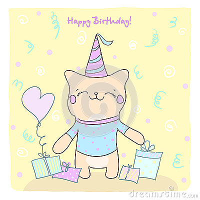 Birtday card with cute kitty and gifts.
