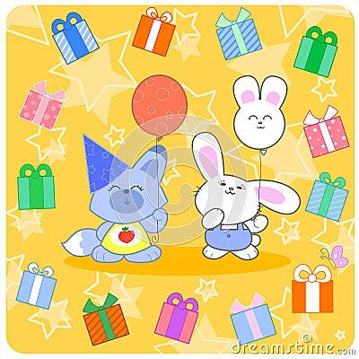 Birtday heureux ! Animaux et cadeaux mignons