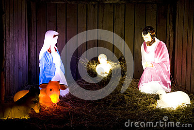 Birth of Jesus Christmas lights
