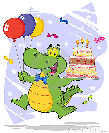 Birthday alligator holding up a birthday cake