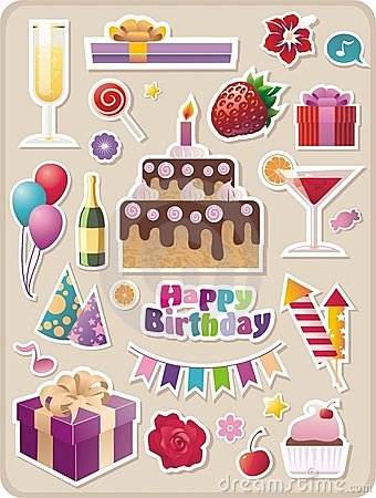 Free Birthday And Party Stickers Stock Photo - 11369330