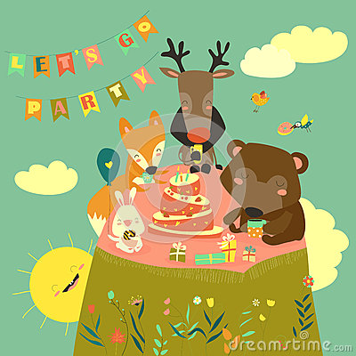 Birthday background with happy animals Vector Illustration