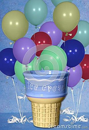 Free Birthday Balloon Ice Cream Cone Digital Background Stock Photo - 803810