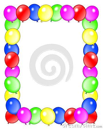 happy birthday balloons border