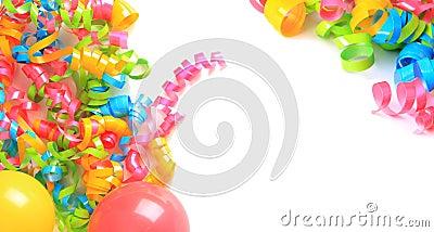 Birthday balloons and ribbons