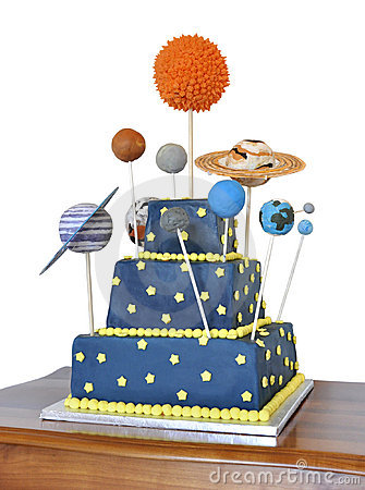 Birthday cake with astronomy theme