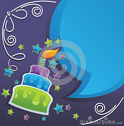 Free Birthday Cake, Candle And Speech Bubbles Royalty Free Stock Image - 26176316