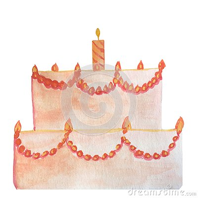 Birthday cake with a candle. Cartoon Illustration