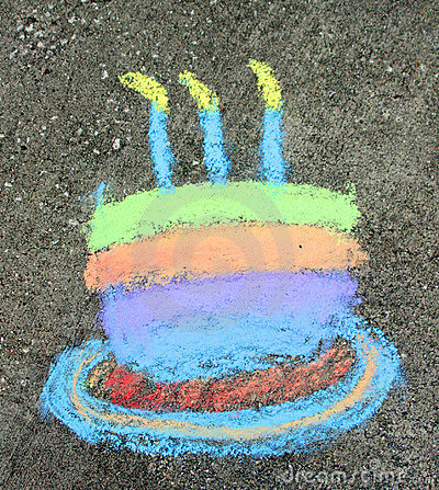 Birthday Cake in chalk