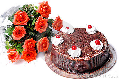Flower Birthday Cake on Birthday Cake And Flowers Stock Image   Image  10979431