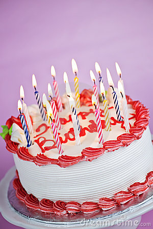 Birthday Cake With Lit Candles Stock Images - Image: 16522324