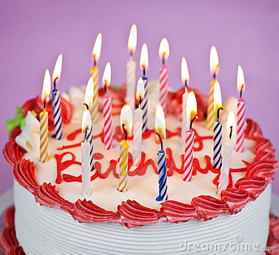 Pictures Of Birthday Cakes With Candles Lit : Birthday Cake With Lit Candles Stock Photos - Image: 16646153