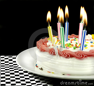 Birthday Cake With Lit Candles Stock Images - Image: 3620424