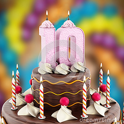 Birthday Cake With Number 10 Lit Candle Stock Photo