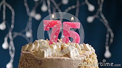Astonishing Birthday Cake With 73 Number Pink Burning Candle On Blue Funny Birthday Cards Online Unhofree Goldxyz