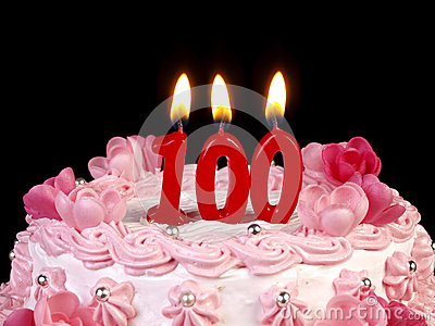 Birthday cake showing Nr. 100