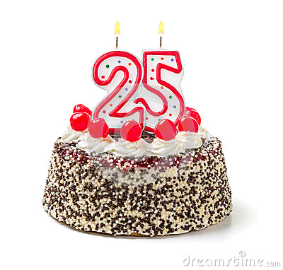 Free Birthday Cake With Candle Number 25 Royalty Free Stock Photo - 46391375
