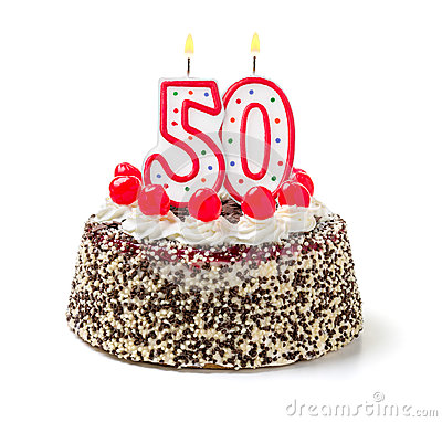 Free Birthday Cake With Candle Number 50 Stock Photography - 46391182
