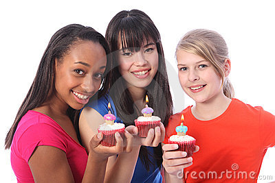 Birthday cakes for 3 mixed ethnic teenage girls