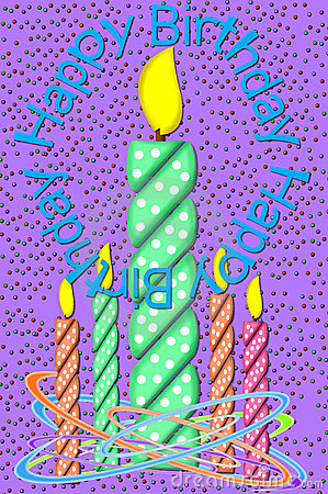Birthday Candles and Confetti Purple