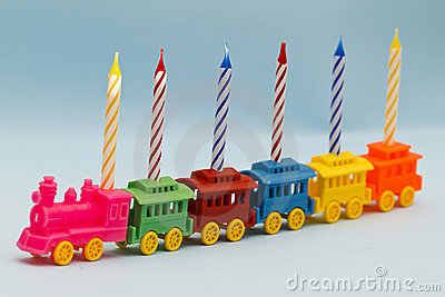 Birthday Candles on Toy Train