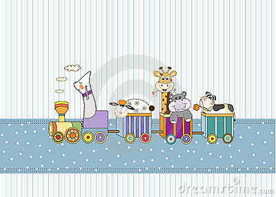 birthday card with animal toys train