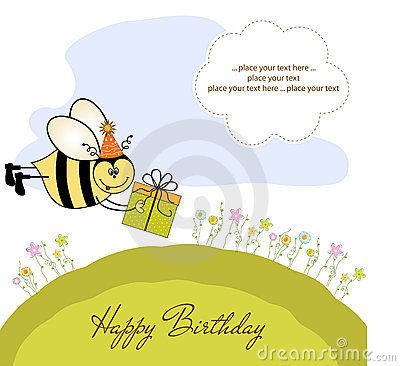 Birthday card with bee