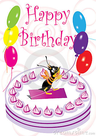 Birthday Card With Bee And Balloon_eps
