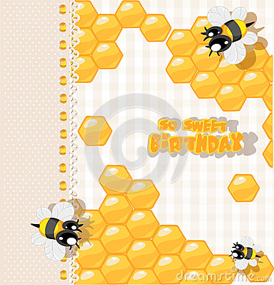 Birthday - card with bees and honey for greetings