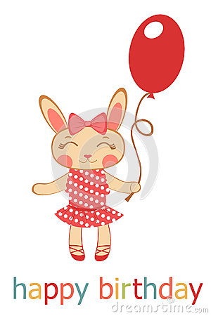Birthday card with bunny girl holding balloon