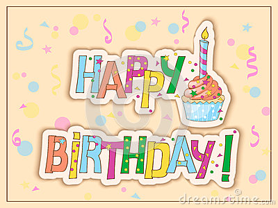 birthday card with cake, candle and hand draw text stock vector, Birthday card
