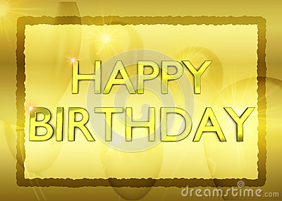 Birthday card with golden party ballons on background
