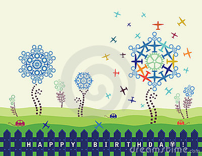 Birthday card with planes and cogs