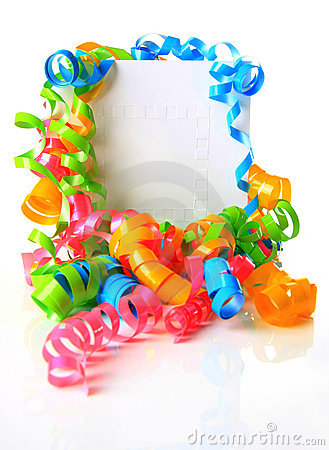 Birthday card and ribbons
