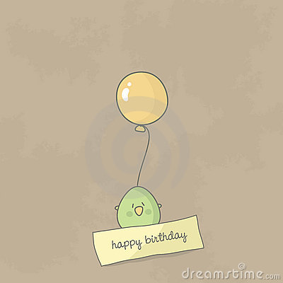 Free Birthday Card With A Cute Bird Holding Balloon Stock Photography - 22850192