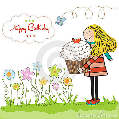Free Birthday Card With Blonde Girl And Cupcake Royalty Free Stock Photo - 21741435