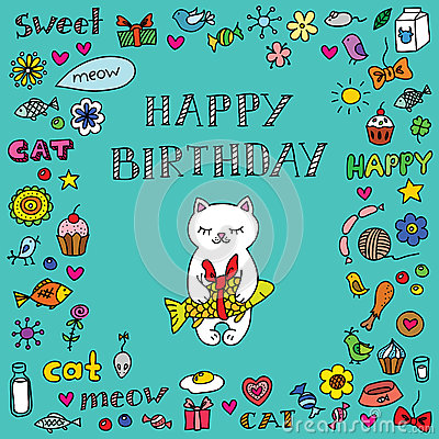 Free Birthday Card With Cat Stock Photo - 32686690