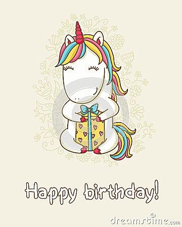 Free Birthday Card With Unicorn Stock Image - 75826731